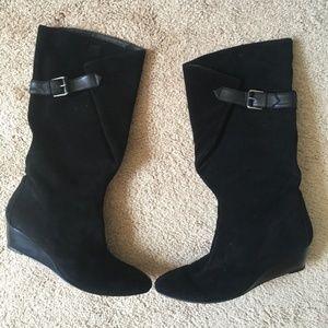Black Nine West Wedge Suede Boots 6.5